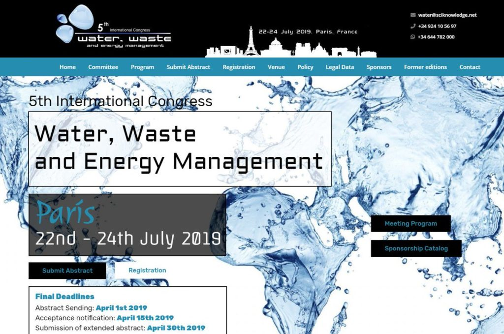 5th International Congress on Water, Waste and Energy Management @ Université París 8